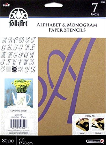 Plaid PLA50320 Stencil Folk-Art Paper Alphabet & Monogram Script, 7
