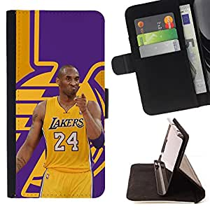 For Sony Xperia Z2 D6502 Lakers 24 Bryant Basketball Poster Leather Foilo Wallet Cover Case with Magnetic Closure
