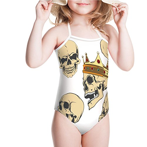 Swimsuit Expressions Evil Face Crowned Death Monster Halloween for 5-6ages
