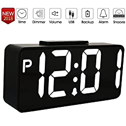 8.9 LED Alarm Clock, Large LED Display Desk Clock, Dual USB Port Table Clock For Phone Charger with Battery Backup, 12 Hours Display, Snooze Suit for Bedside/Living room/Office(NO Auto DST)