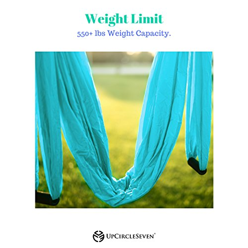 UpCircleSeven Aerial Yoga Swing - Ultra Strong Antigravity Yoga Hammock/Sling for Air Yoga Inversion Exercises - 2 Extensions Straps Included (Blue) by UpCircleSeven (Image #4)