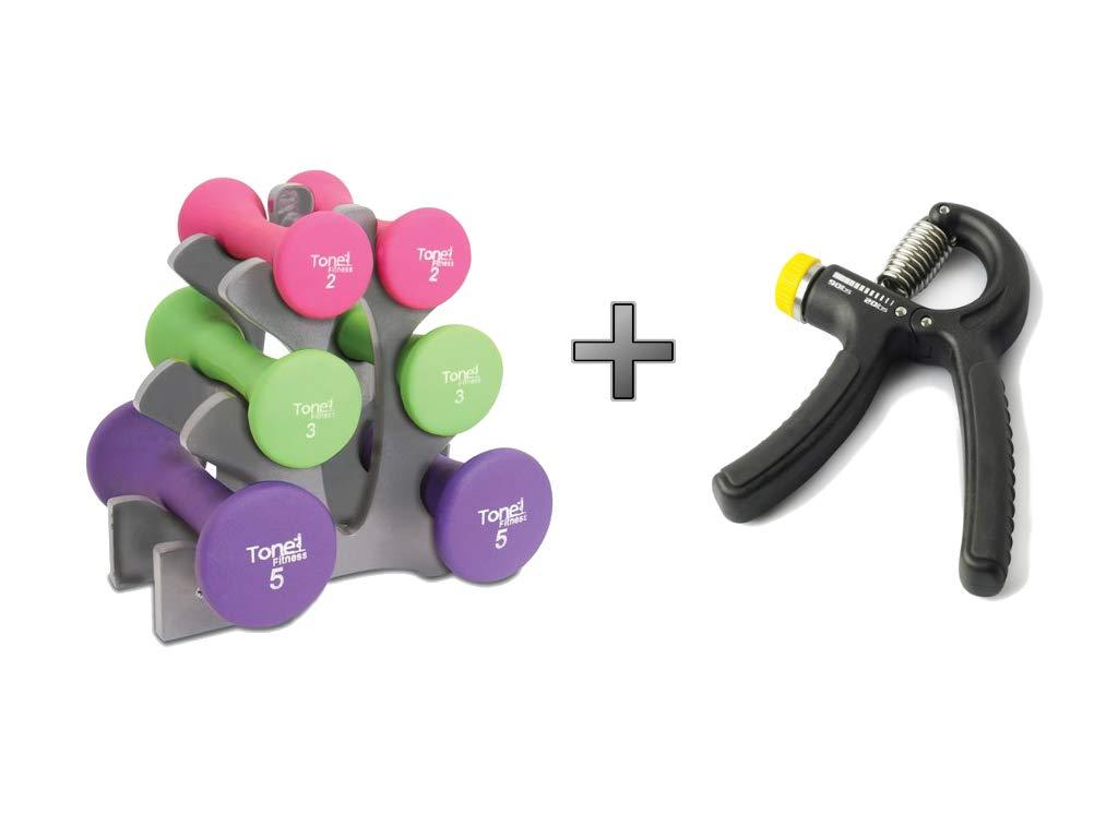 Neoprene Barbell Tone Fitness 20 lb Dumbbell Weight Set with Grey Rack - Bundle Plus Durable Adjustable Hand Grip - Bundle Set