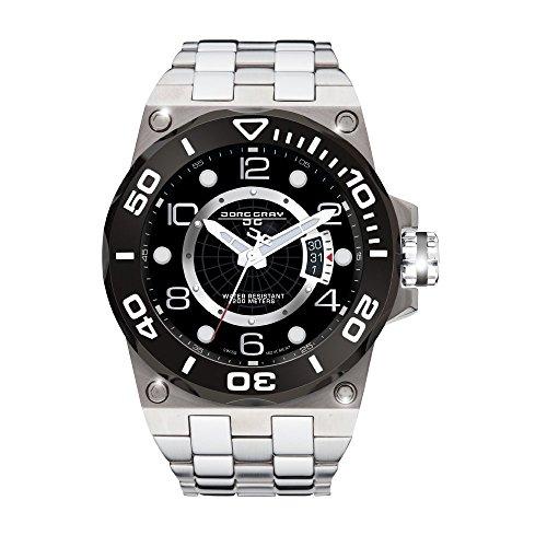 Jorg Gray JG9600-13 Silver Black Textured 3 Hand Mens Wrist Watch by Jorg Gray