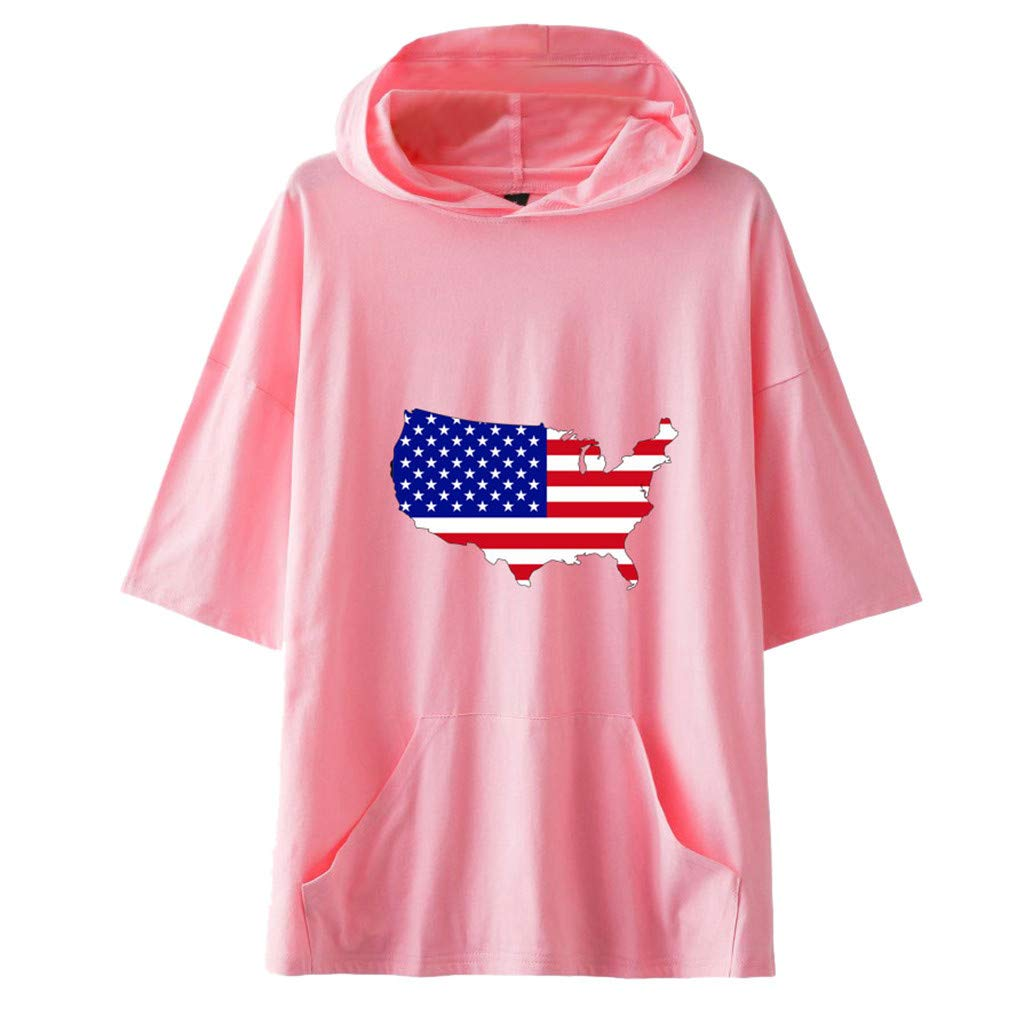 Smdoxi Neutral American Independence Day Hooded Short Sleeve Flag Print Simple Casual T-Shirt Pink
