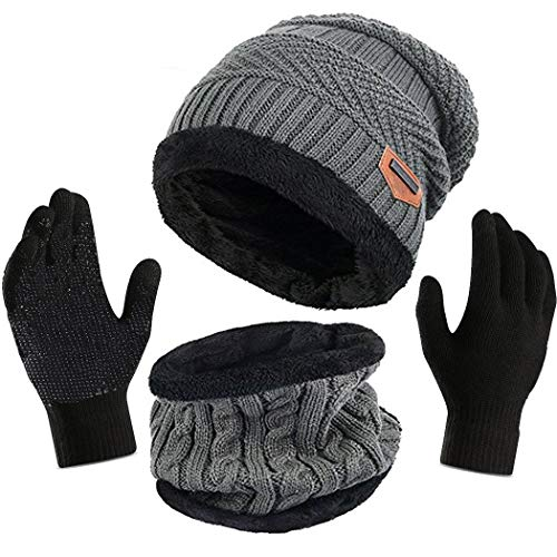 Hat Cap Beanie Gloves - Affei Winter Slouchy Beanie Gloves Women Knit Hats Skull Caps Touch Screen (Gray, One Size)