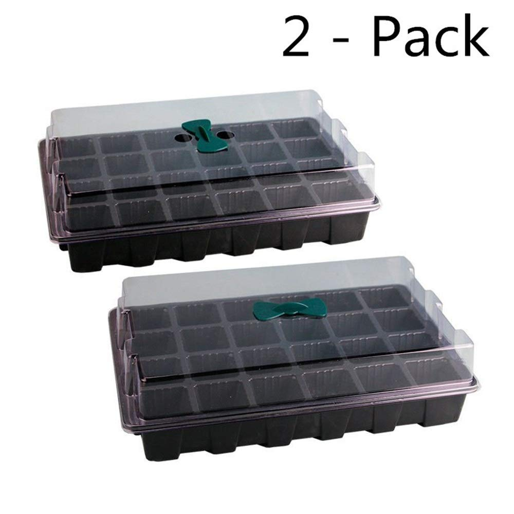 SKINNYBUNNY 24-Hole Seedling Tray Plant Nursery Pot Air Holes Three-Piece Set Large Tray Seeding Seedling Pot/Seed Box Black (Color : Two Pack) by SKINNYBUNNY