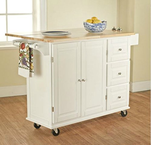 Solid Countertop Wood (TMS Kitchen Cart and Island - This Portable Small Island Table with Wheels Has a Solid Wood Counter Top - 3 Drawers and 3 Cabinets for Additional Storage Space! (White))