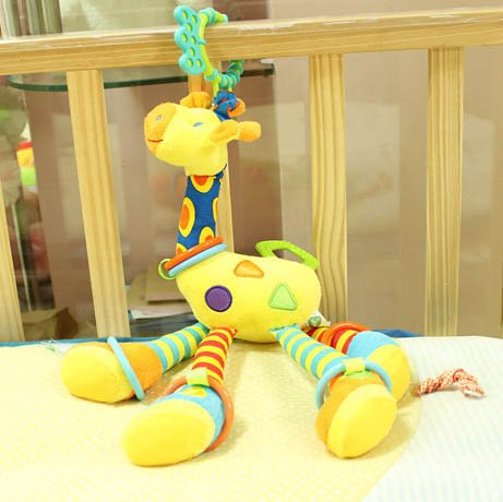 Multifunctional Yellow Giraffe Lathe Cot Bed Hanging Rattles, Crib Hang Teethers Baby Educational Toys