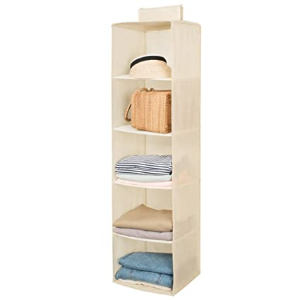 3567271ef16b Hanging Closet Organizer,Sweater & sock Organizer with a Hook and  Loops,Collapsible Storage Shelves for Clothes, pants and Shoes (Beige-5  Shelf)