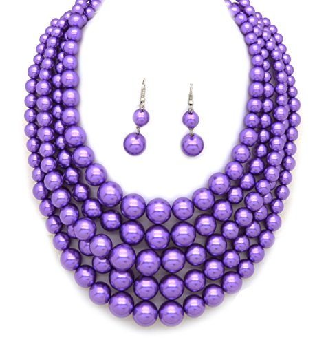Fashion 21 Women's Five Multi-Strand Simulated Pearl Statement Necklace and Earrings Set (Lavender)