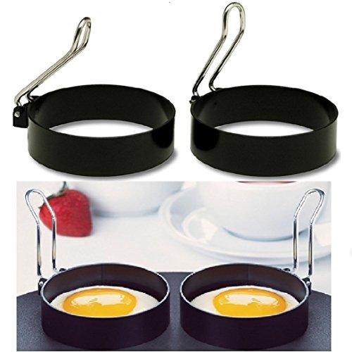 Kemilove 2 PCS Nonstick Stainless Steel Handle Round Egg Rings Shaper Pancakes Molds Ring