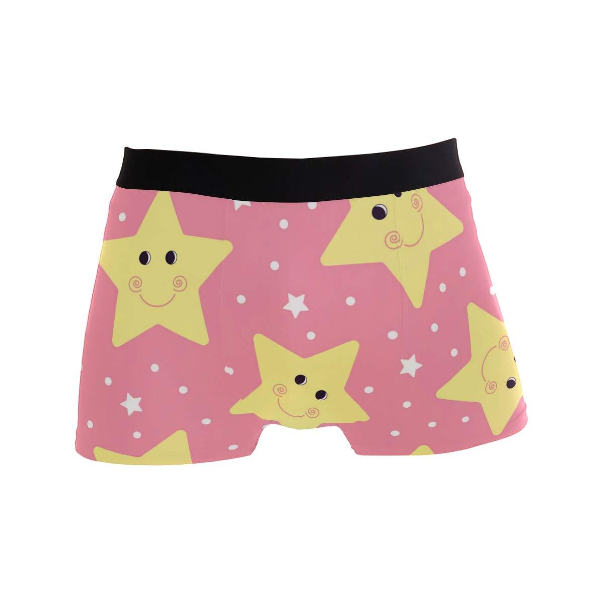 My Little Nest Lovely Stars Mens Boxer Brief Short Leg Underwear XL