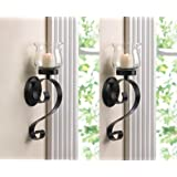 2 Black Iron Artisanal Sconce Wall Mount Hurricane Garden Candle Holder Set  PAIR By Sallyashop Part 28