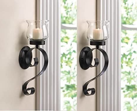 Delicieux 2 Black Iron Artisanal Sconce Wall Mount Hurricane Garden Candle Holder Set  PAIR By Sallyashop