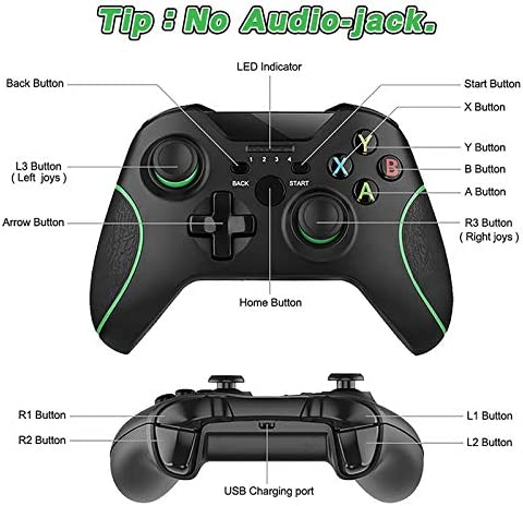 Wireless Controller for Xbox One 2.4GHZ Wireless Game Controller Compatible with Xbox One S/X/Elite, PS3, Windows 7/8/10, Android Phone, with Built-in Dual Vibration