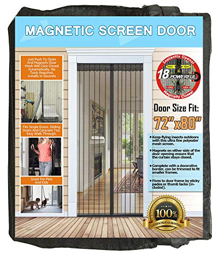 N-Green Reinforced Magnetic Screen Door - Heavy Duty Mesh Curtain and Full Frame Velcro, Keeps Mosquitoes Out, Toddler and Dog Friendly, No Tools Required (Fits Door Up to 72x80)