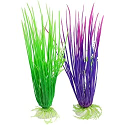 uxcell 2-Piece Plastic Fish Tank Landscaping Plants/Water Grass, 8-Inch, Purple/Green