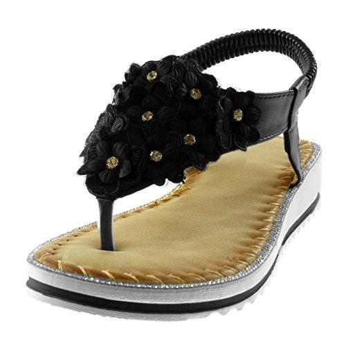 Angkorly Zapatillas Moda Sandalias Chanclas Correa Correa de Tobillo Slip-On Mujer Flores Strass Plataforma 3 cm Negro
