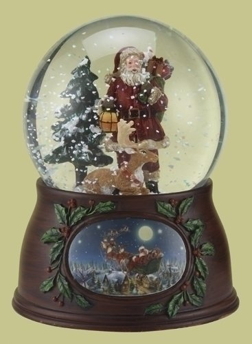 5'' 100mm Santa With Deer Dome Revolving W/Wood Look Base Plays Here Comes Santa Claus by Roman