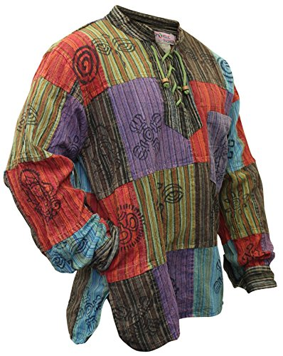 shopoholic fashion Mens Stonewashed Blocked Hippie Shirt (3XL)