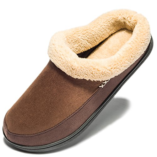 NDB Men's Warm Memory Foam Suede Plush Shearling Lined Slip On Indoor Outdoor Clog House Slippers (6-7 D(M) US, Coffee)