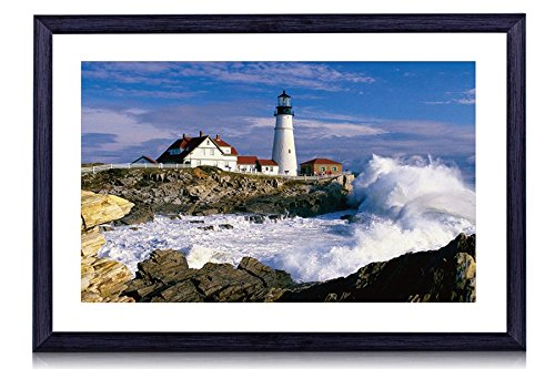 Portland Head Light Clash Of Waves Cape Elizabeth Maine Portland Head Lighthouse - Art Print Black Wood Framed Wall Art Picture For Home Decoration - 24