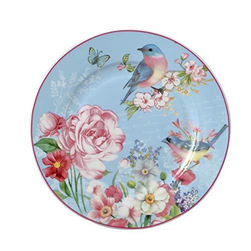 (DAYE BOUTIQUE Salad/Dessert/Bread&Butter Plate Set of 2 Royal Fine Bone China, Vintage Bird Floral Plate, 8-Inch (Blue))