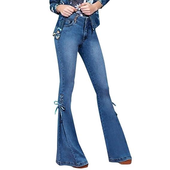Luckycat Pantalones Acampanados Pantalones Vaqueros ...