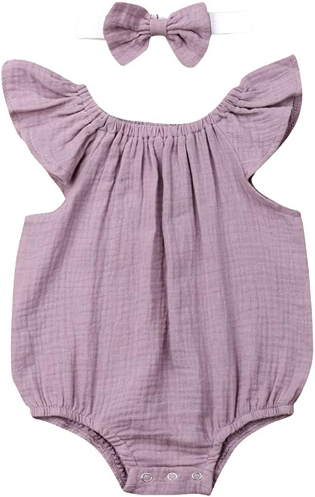 Arystk Baby Girls Bodysuit Summer Infant Boys Fly Sleeve Ruffles Solid Romper+Headband