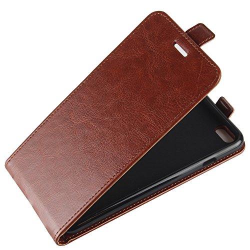 Para iPhone 6 Plus / iPhone 6s Plus Caso compacto de piel PU, arriba-abajo piel abierta PU Funda de piel con ranura para tarjeta y función de protección completa con cierre magnético Caja a prueba de  marrón
