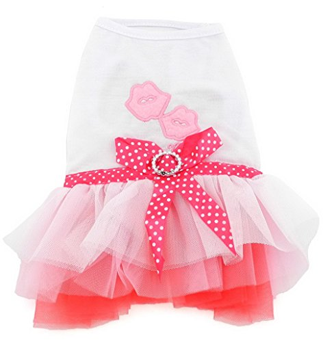 Dog Teacup Dress Clothes (SELMAI Girl Princess Dress Soft Tutu for Small Dog Puppy Birthday Party Dress Ribbon Bow Yorkie Summer Clothes, Pink XS)