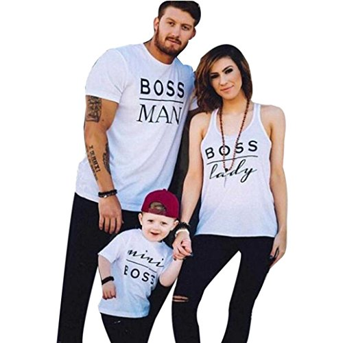 Raptop Daddy or Mommy or Baby Family Matching T-Shirt Tops White O-Veck White(Dad), XL -