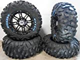 Bundle - 9 Items: STI HD3 14'' Wheels Black 26'' BigHorn Tires [4x156 Bolt Pattern 3/8x24 Lug Kit]