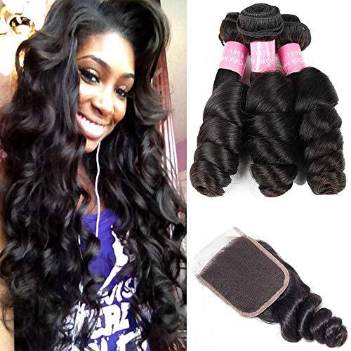 Brazilian 8A Loose Wave 3 Bundles with Closure Virgin Human Hair Bundles with 4x4 Free Part Closure Unprocessed Virgin Human Hair Natural Black(16 18 20+14) ()