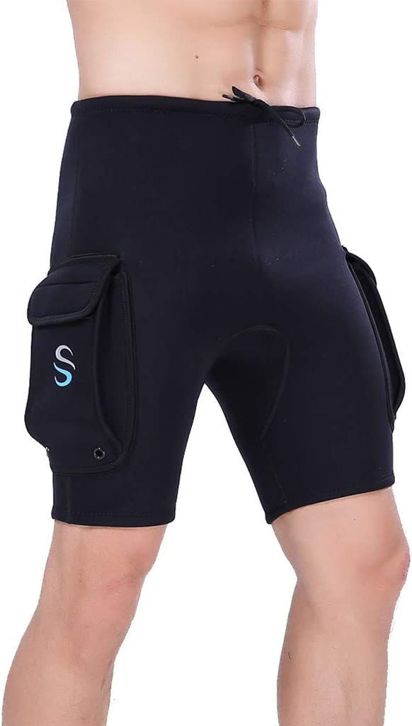 Mens 3mm Neoprene Wetsuits Shorts Stretch Thermal Surfing Suits Pants with Pocket UV Protection Rashguard Swimsuit Bathing Suits for Kayaking Canoeing Snorkeling Scuba Diving
