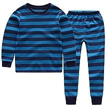 CNBABY Little Boys Striped Pajamas Sleepwear Cotton T-Shirt & Pants Pjs