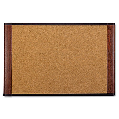 3M Cork Board, 72 x 48-Inches, Widescreen Mahogany-Finish Frame by 3M