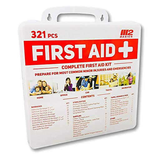 M2 Basics 321 Piece Premium First Aid Kit w/Wall Mount Hard Case | Free First Aid Guide | Emergency Medical Supply | Home, Office, Outdoors, Car, Camping, Travel, Survival, Workplace by M2 BASICS (Image #6)