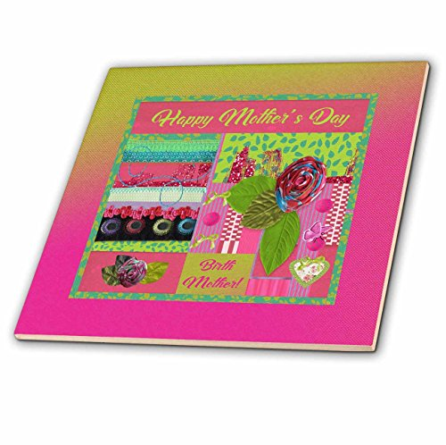 3dRose Beverly Turner Mothers Day Design - Mothers Day to Birth Mother, Pink, Green, Rose, Bows, Heart, Butterfly - 8 Inch Glass Tile (8 Inch Birth Plate)