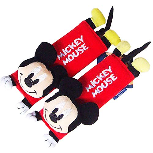 Disney Mickey Mouse Design Multi Use Auto Car seat belt cover Plush Seat Shoulder Pad Cushion 2 pcs One Pair]()