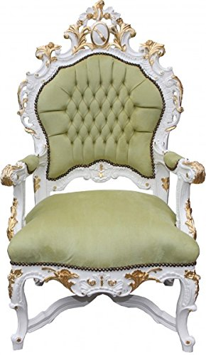 Casa Padrino Baroque Luxury Throne Green / White / Gold   Unique   Baroque  Furniture Throne
