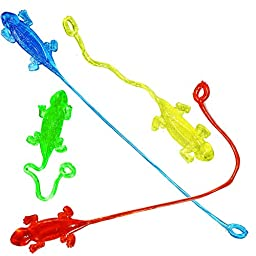 Joyin Toy 80 Pieces Vinyl Stretchy Sticky Toy Assortment Including 16 Large Sticky Hands (2.75 Inches), 16 Wall Climber Men, 16 Sticky Hammers, 16 Sticky Snakes and 16 Stretchy Flying Frogs.