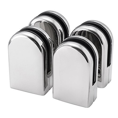 4Pcs Stainless Steel Glass Clamp Solid Glass Shelf Clamp Holder Bracket Clip Support Fits for 6-8mm thick Glass Wall Mount Home Bathroom by DIYI from DIYI
