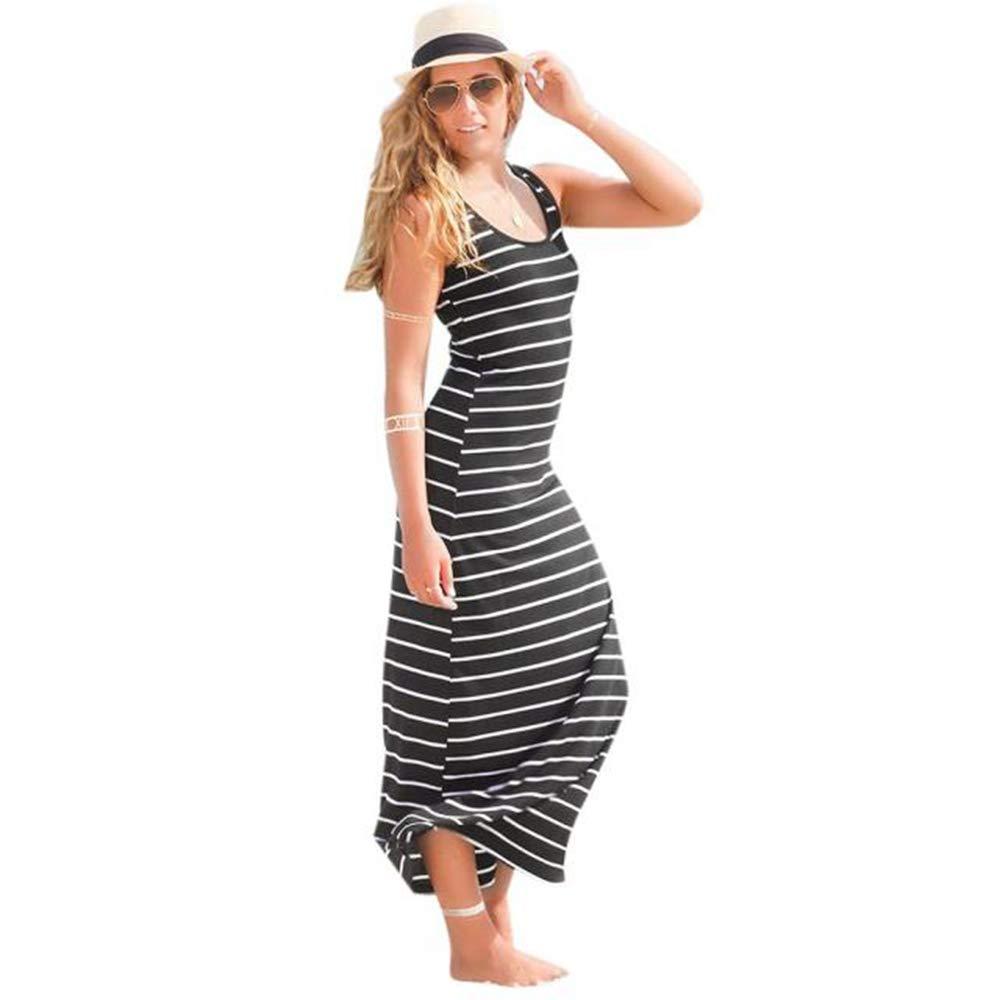 Wugeshangmao Dress Women's Dresses Short Sleeve Casual Loose Summer Beach Sleeveless Striped Long Dresses for Ladies