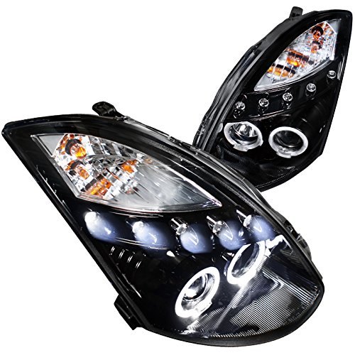 Spec-D Tuning LHP-G35032G-TM Infiniti G35 2Dr Coupe Glossy Black Housing Smoked Lens Proj Headlights 03 Infiniti G35 Coupe