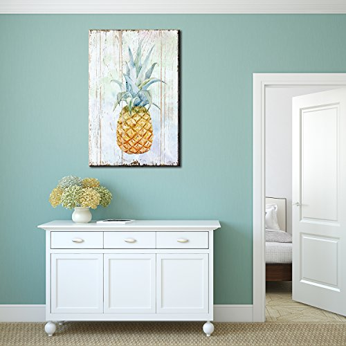 Canvas Wall Art - Pineapple on Wood Style Background