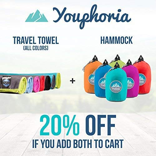 Youphoria Outdoors Microfiber Quick Dry Travel Towel  Ideal Fast Drying Towels for Travel Camping Beach Backpacking Gym Sports and Swimming  Ultra Light Fast Drying and Absorbent  3 Sizes