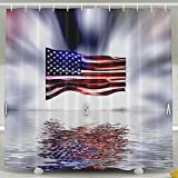 BINGO FLAG Funny Fabric Shower Curtain Colorful Flag Waterproof Bathroom Decor With Hooks 60 X 72 Inch