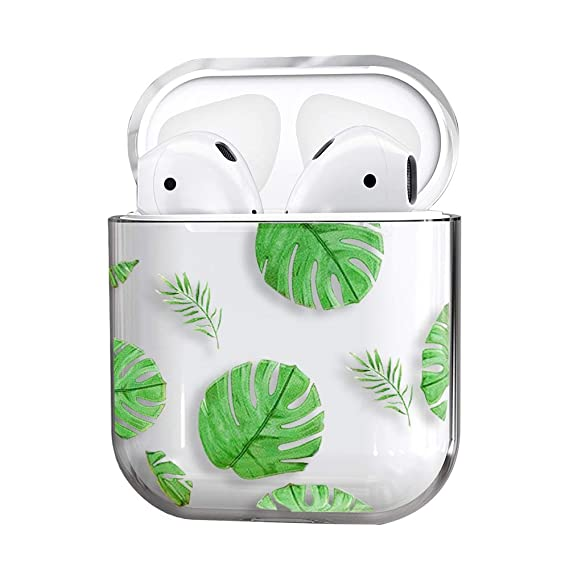 Air Pods Case,Cute Clear Smooth Tpu [No Dust] Shockproof Cover Case For Apple Airpods 2 &1,Kawaii Fun Cases For Girls Kids Teens Air Pods (Banana Leaf) by Mangix