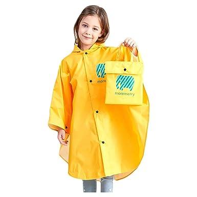 Fan Hua Kids Raincoat Yellow Lightweight Waterproof Rain Jacket Coat with Hooded for Girls Boys,Portable Poncho Rainwear